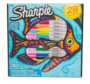 Sharpie Fish Limited Edition Permanent Markers, Fine Nib, Assorted Ink (Pack of 28) £9.99 @ WHSmith ( Instore )