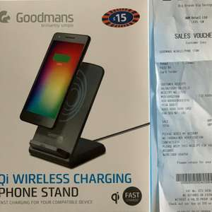Goodmans Qi Wireless charger phone stand £6 instore @ B&M Ashby-de-la-Zouch
