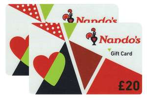 £40 Nando's Gift Cards Multipack (2 x £20) for £34.99 delivered at Costco