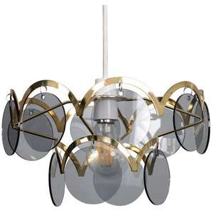 Polished Brass Two Tiered Smoked Disc Ceiling Pendant Light Shade - No Bulb £3.99 at manomano