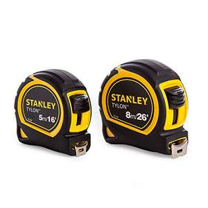 Stanley STA998985 Pocket Tapes, 5m/16ft & 8m/26ft - £9.99 (Prime) +£4.49 (NP) @ Amazon