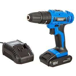 Draper 18V Li-Ion Hammer Drill with 1 Hour Fast Charger and Carry Case - £34.95 (free click and collect) @ Robert Dyas
