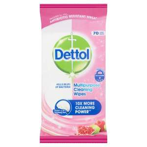 Dettol Multipurpose Cleaning Wipes Pomegranate & Lime Large Wipes 70 per pack - £1.00 / 10 pack Floor Wipes - 50p @ Morrisons