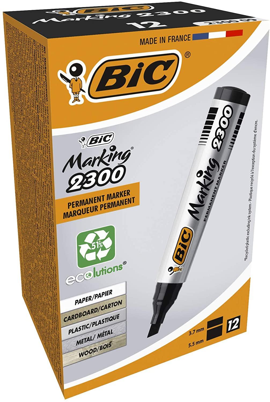 BIC Marking 2300 ECOlutions Permanent Markers - Black, Box of 12 - £6.26 Prime / £5.95 subscription / +£4.49 non Prime @ Amazon