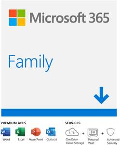 Microsoft Office 365 Family (6x Users) £49.99 instant download at Amazon