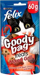 Felix Goody Bag Cat Treats Mixed Grill 60g - Pack of 8 for £5.20 (Prime) / £9.69 (non Prime) at Amazon