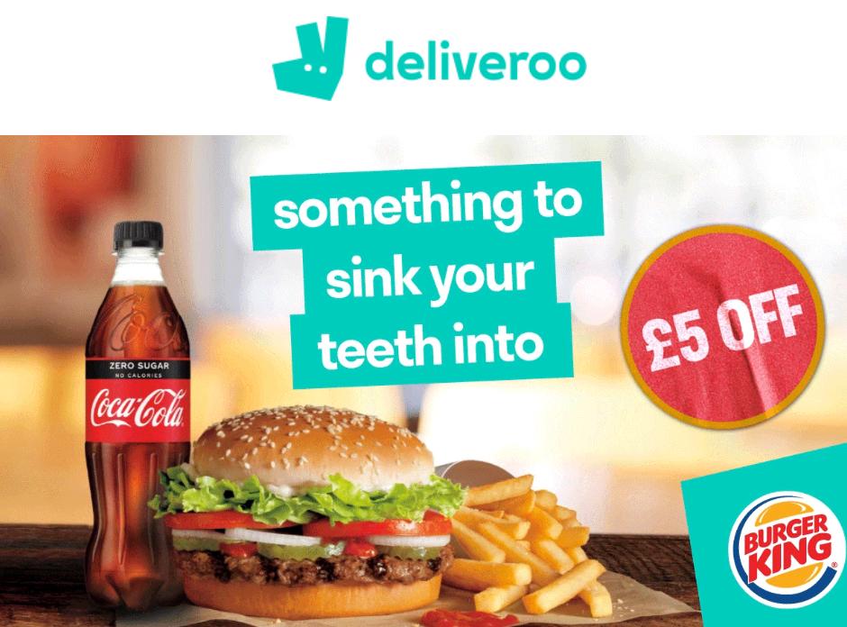 Free £5 Deliveroo voucher for next order when placing a Burger King order (min £20 spend) @ Deliveroo