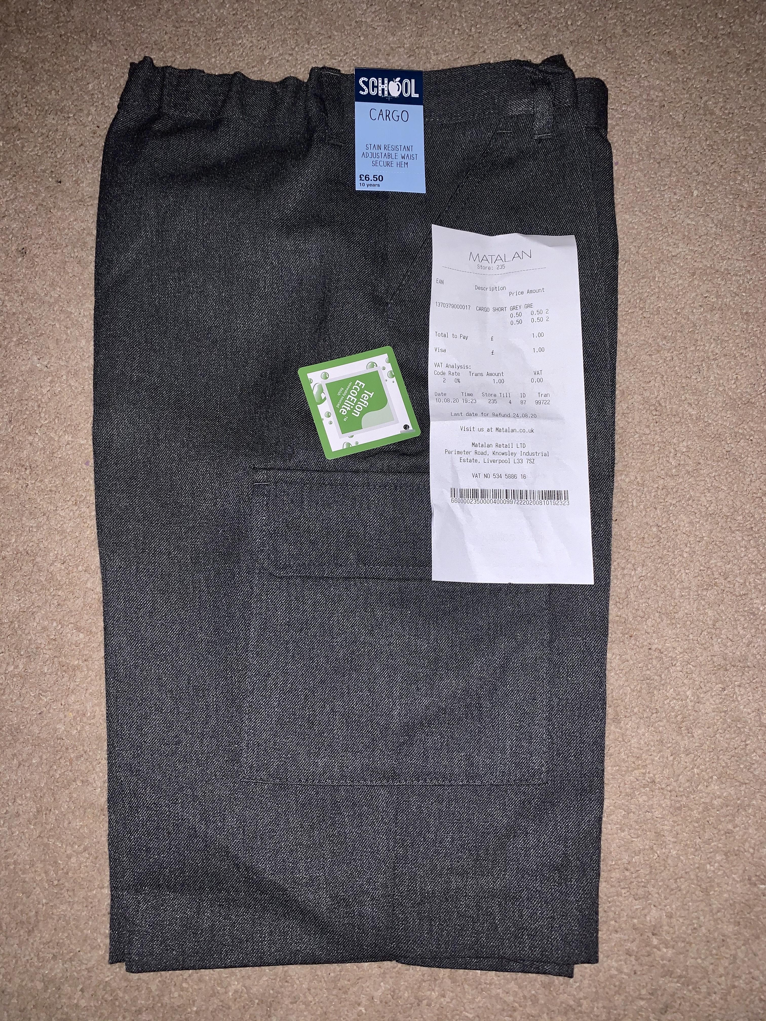 Grey School Cargo Shorts 50p instore @ Matalan Dundee