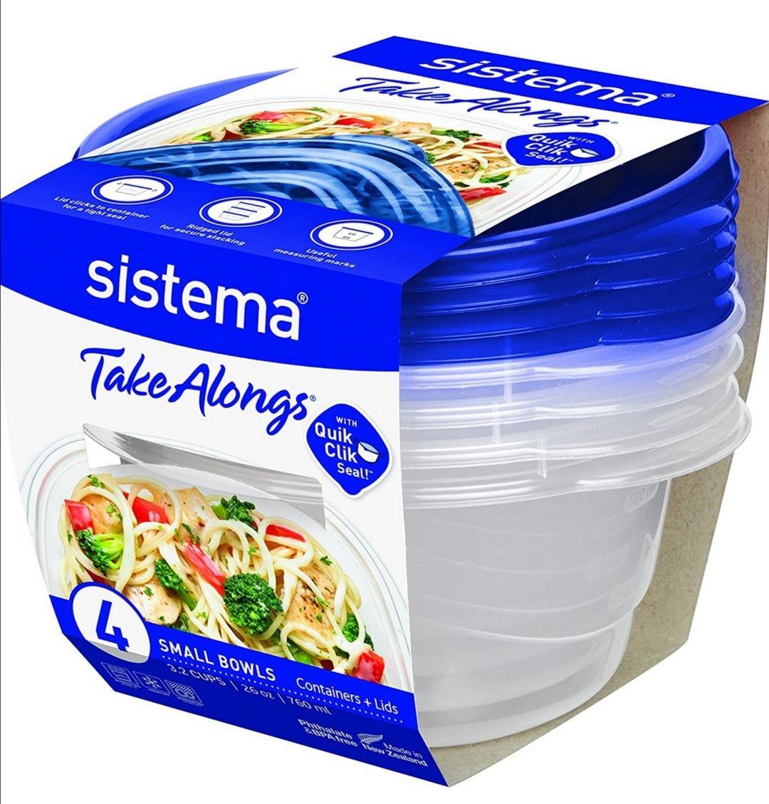 Sistema Takealongs 760ml Small Bowl 4 Pack Food Storage Containers - £2.20 Prime / +£4.49 Non Prime @ Amazon