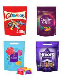 Celebrations Pouch 400G / Quality Street Pouch Bag 435G / Cadbury Roses Pouch 357G / Cadbury Heroes Pouch 357G £2.50 @ Tesco