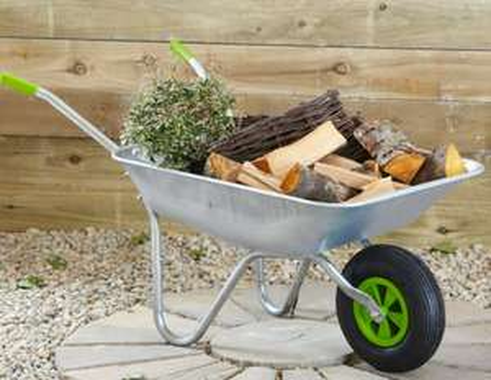 "65L Heavy Duty Wheelbarrow Garden Cart Galvanised, Weight Capacity of 200kgs 33cm /13""Pneumatic Tyre - £25.49 with code @ Neodirect eBay"