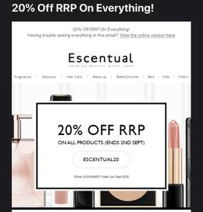 20% off EVERYTHING @ Escentual