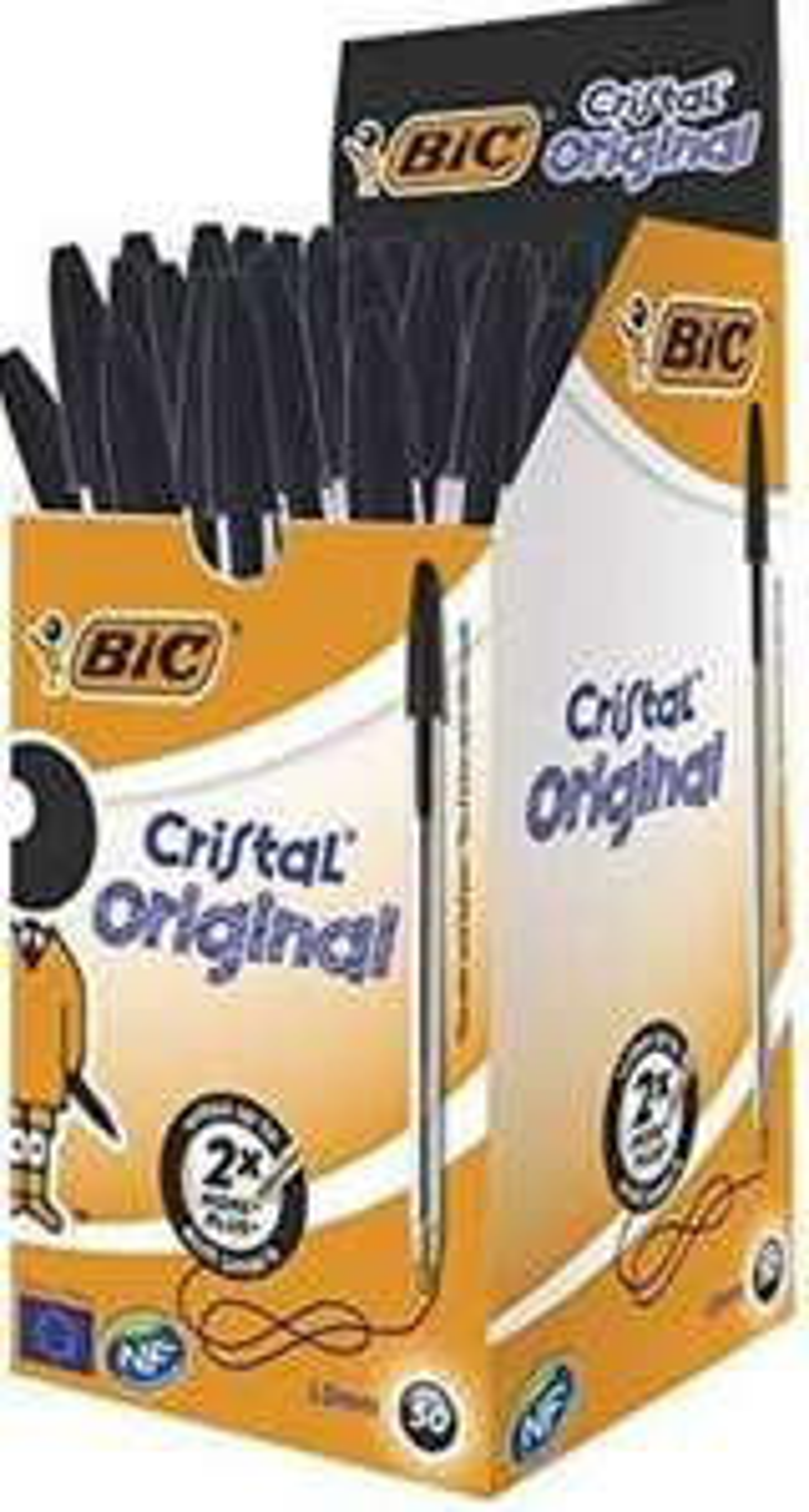 BIC Cristal Original Ballpoint Pens Medium Point (1.0 mm) – Black, Box of 50 - £7.89 Prime / £12.38 Non Prime @ Amazon