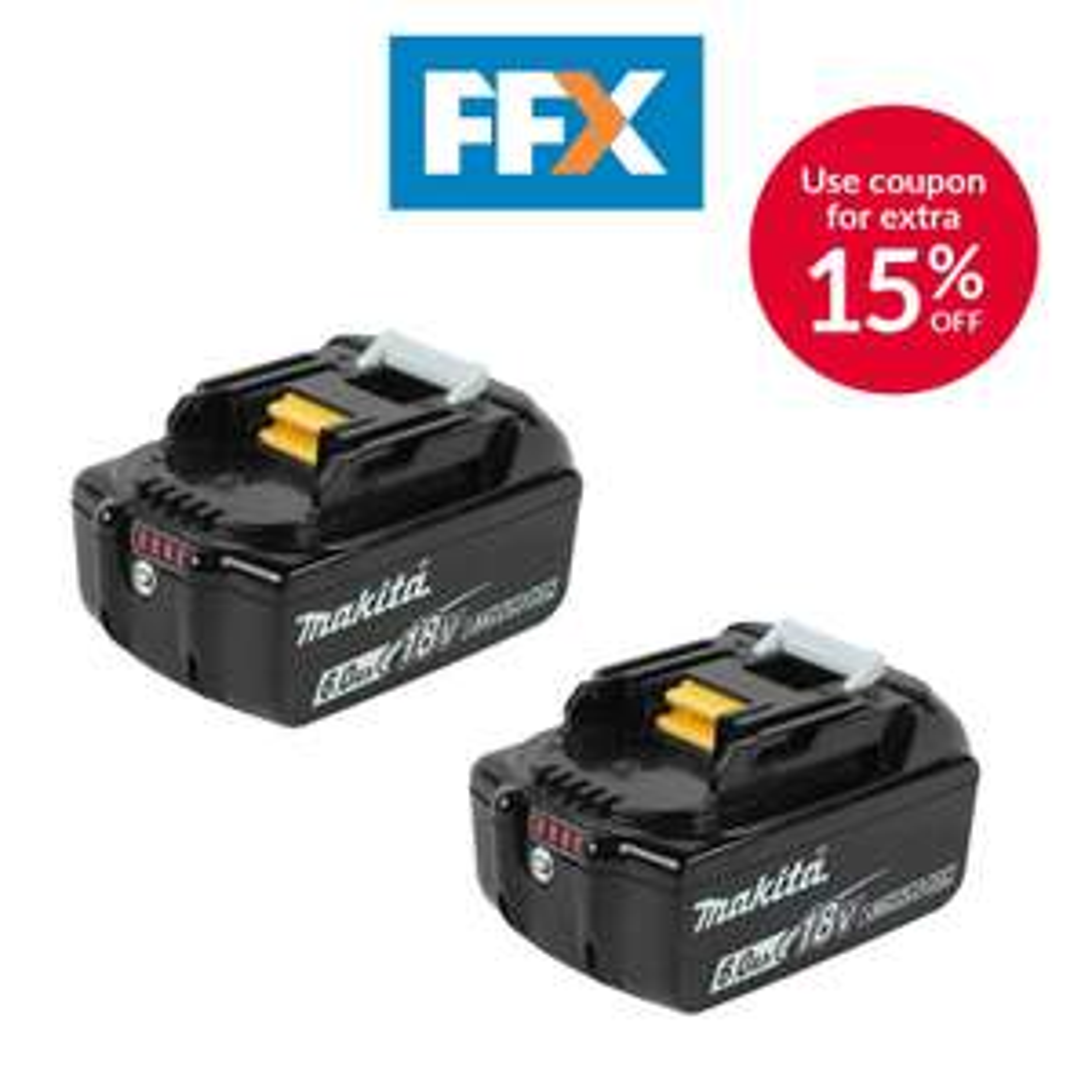 Genuine Makita batteries 2x 6Ah...18V LXT - £125.80 delivered using code @ folkestonefixings / eBay