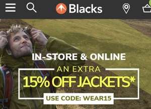 15% off jackets with Code WEAR15 on top of sale prices @ Blacks