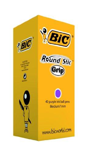 BIC Round Stic Grip Ballpoint Pens Purple (40 Box) - £5.49 Prime/ £9.98 Non Prime @ Amazon
