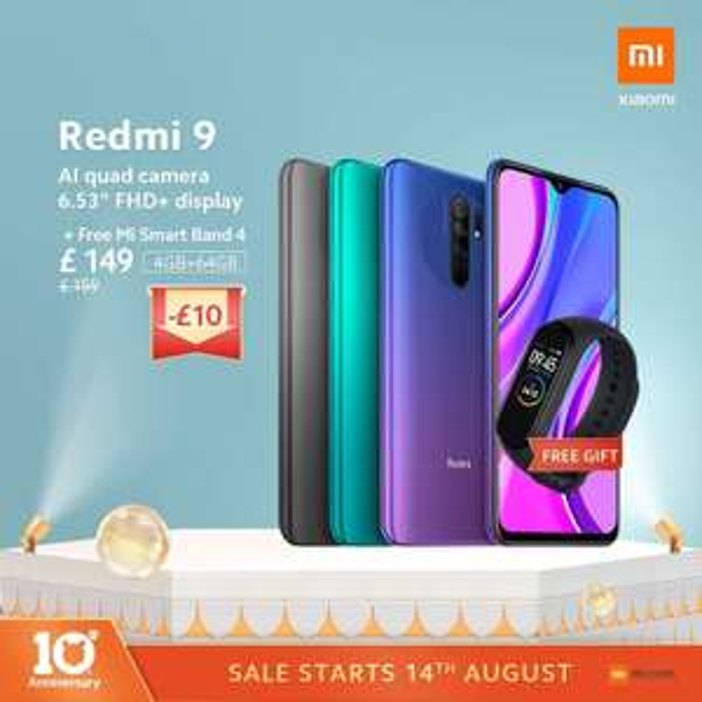 Redmi 9 64GB/4GB + Free Mi Smart Band 4 £134 with code @ Xiaomi