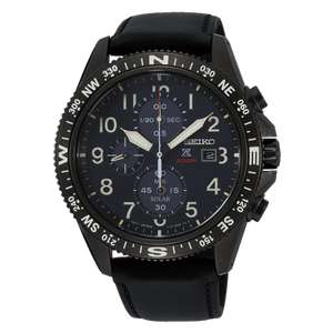 SEIKOMen's Black Leather Prospex Chronograph Solar Divers Watch SSC707P1 - £199 delivered @ Hillier jewellers