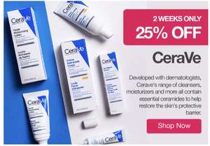 25% off CeraVe at Chemist Direct - from £3.75 + £3.95 delivery