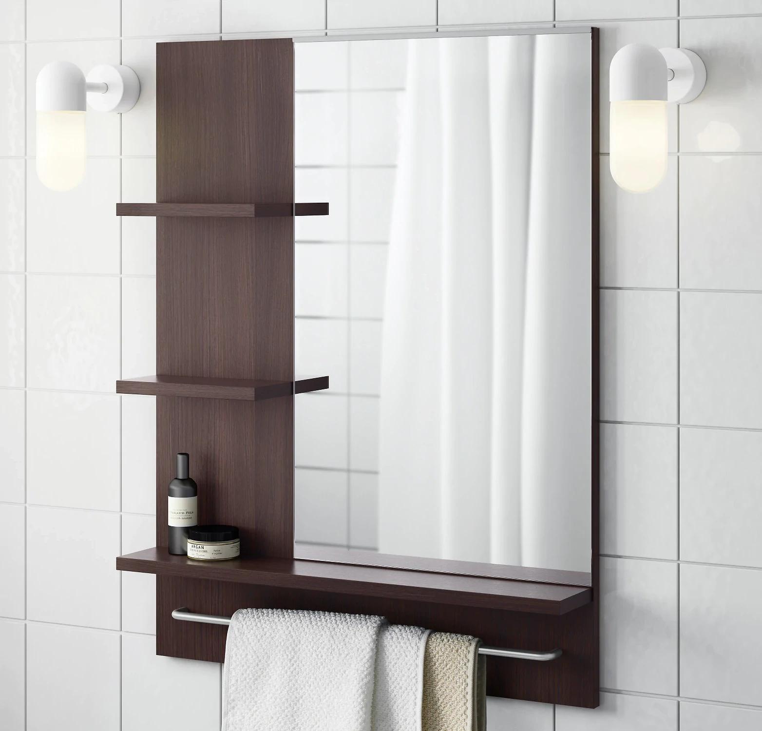 LILLÅNGEN Mirror & Shelves, black-brown for £15 instore @ IKEA