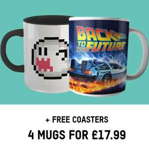 4 Mugs + Free Coasters £17.99 + free Zavvi Red Carpet VIP - Free Delivery