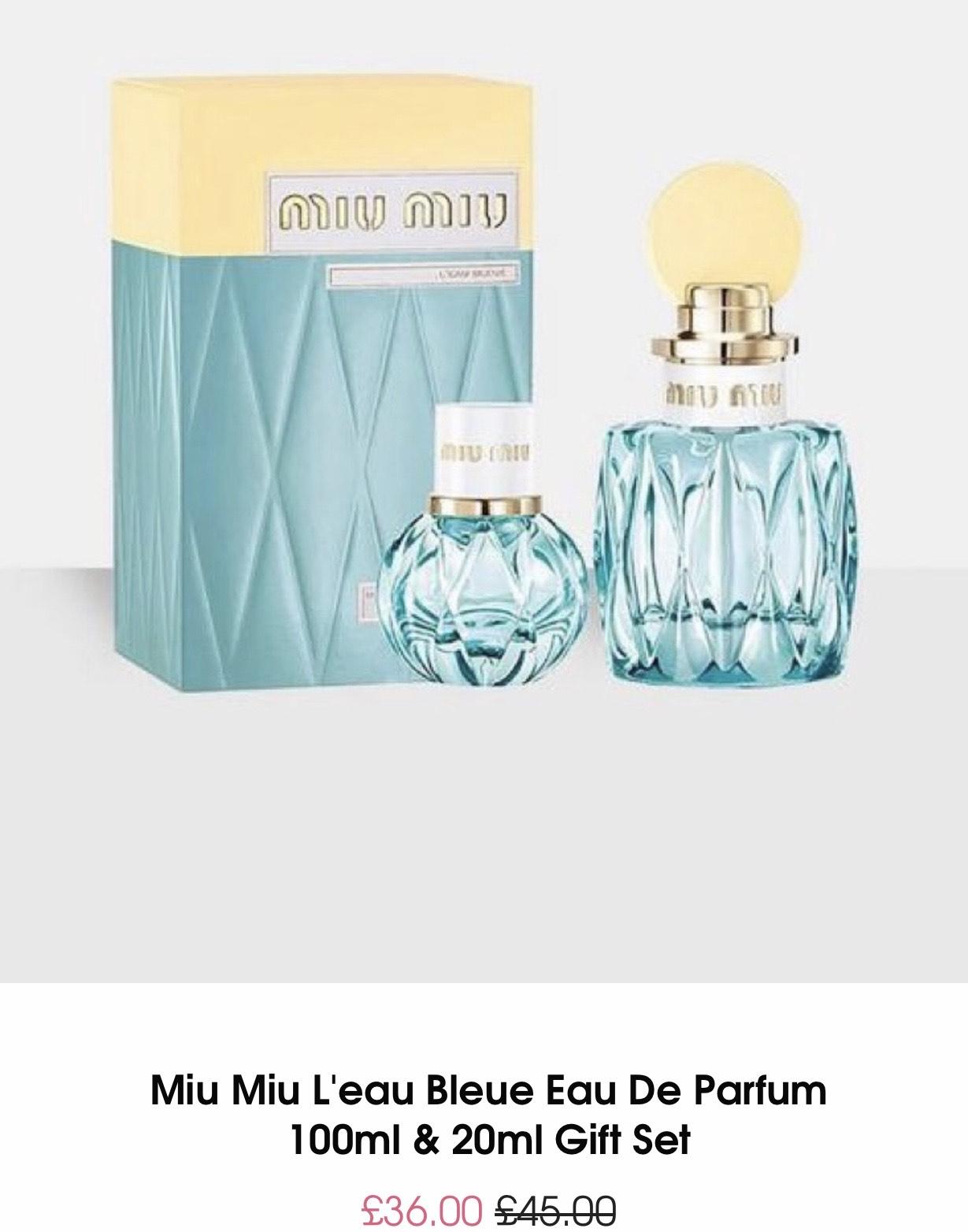 Miu Miu l'eau bleue eau de parfum 100ml & 20ml gift set £37.99 del @ MissGuided