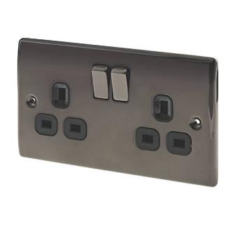 Nexus METAL Black Nickel 2 Gang 13 AMP switched plug socket for £4.39 at ElectricalCounter.co.uk