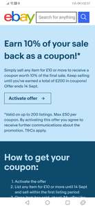 Sell on eBay and get 10% back as a coupon (up to £200 in coupons) - possibly account specific
