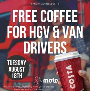 MOTO Service Stations: All HGV / Van Drivers Entitled to 1 Free Coffee From the Express Coffee Machine on Tuesday 18th August
