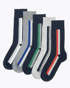 5 Pack Cool & Fresh™ Striped Socks - £5 (Free Click & Collect) @ Marks & Spencer