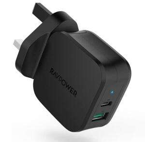RAVPower USB C Charger, Quick Charge 18W PD Wall Charger - £9.99 Prime +£4.49 Non-Prime @ Sold by Sunvalleytek-UK and Fulfilled by Amazon