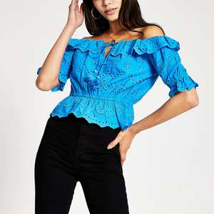 Blue short sleeve broderie Bardot top £8 @ River Island (£1 C&C / £3.99 Delivery)