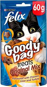 Felix Goody Bag Cat Treats Original Mix 60g - Pack of 8 for £5.20 (Prime) £9.69 (Non Prime) at Amazon