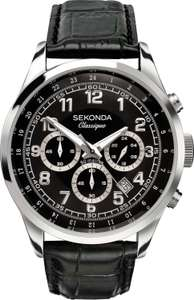 Sekonda Classique Men's Black Leather Strap Watch free click and collect at Argos - £39.99