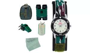 Watch, backpack, binoculars with built in compass, whistle with thermometer, glow in the dark dog tag necklace and cards £13.99 at Argos