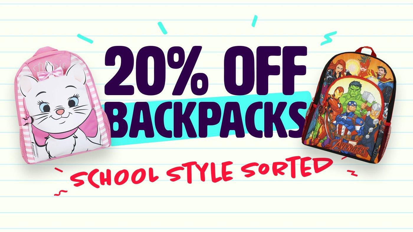 20% childrens backpacks @ Character.com