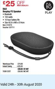 Bang & Olufsen Beoplay P2 Bluetooth Speaker - £59.98 @ Costco (in-store) 24th to 30th August