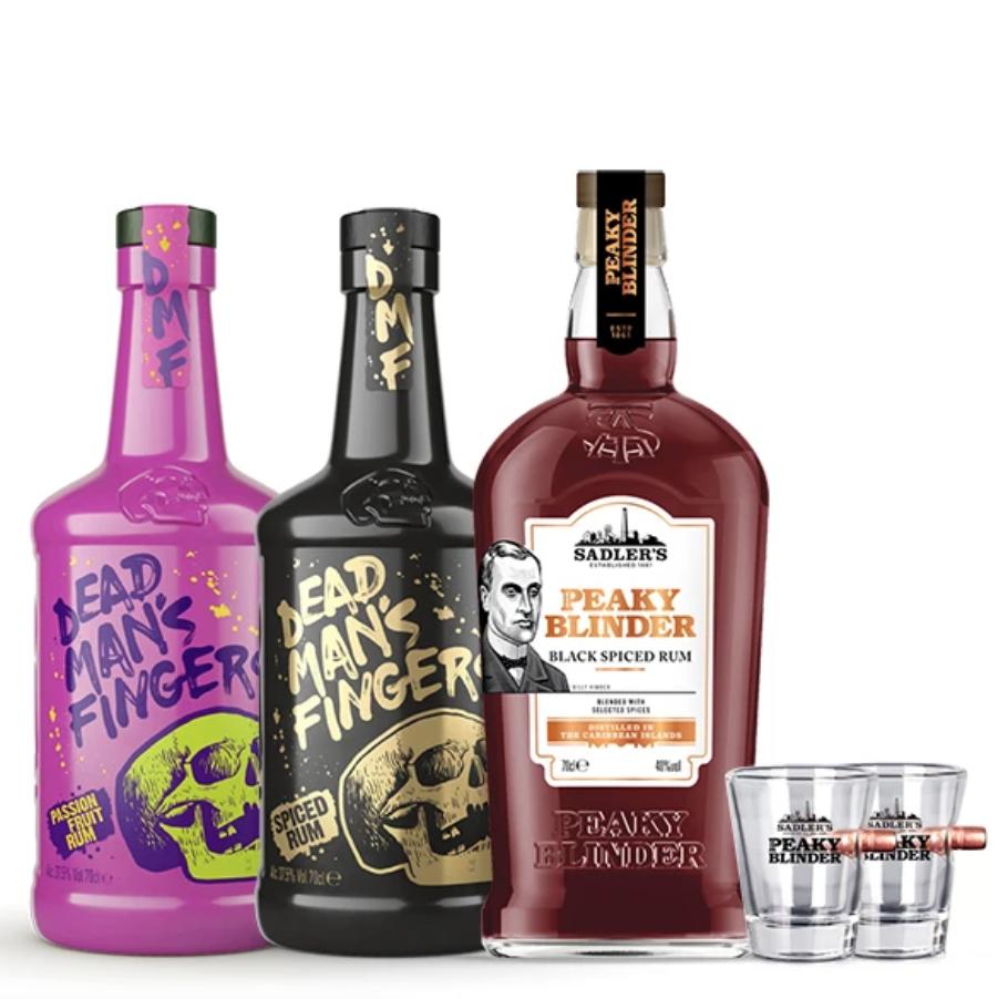 1 Bottle Sadler's Peaky Blinder Rum + 2 Bottles Dead Man's Fingers Rum + 2 Shot Glasses - £49 delivered @ Sadler's Ales