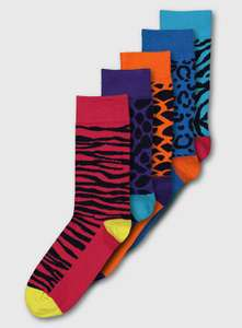 Animal Brights Ankle Socks 5 Pack Sizes 6 - 8.5 - £3.50 with free click and collect @ Argos