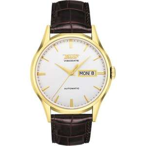 Tissot Men's Gold Plated Brown Leather Visodate Automatic Watch T0194303603101 £357.75 with code - HILLIERS