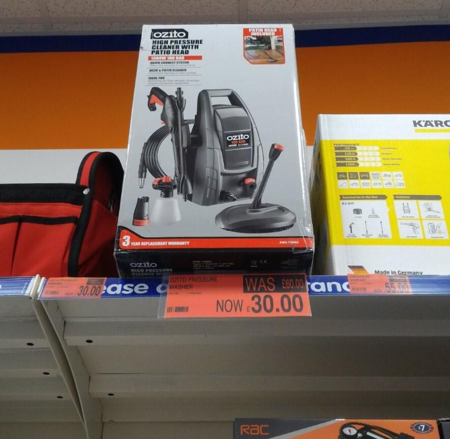 Ozito High Pressure Washer (Model Number: PWE-1300U) £30 instore @ B&M (Bicester)