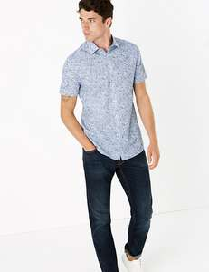 M&S COLLECTION Slim Fit Easy Iron Cotton Floral Shirt - £7 (Free click & collect) @ Marks & Spencer