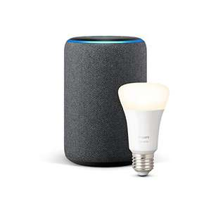 Amazon Echo Plus (2nd Gen), available in Charcoal / Heather Grey / Sandstone Fabric + Philips Hue White bulb E27/B22 £59.99 @ Amazon