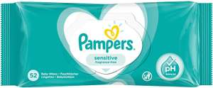Pampers Sensitive Fragrance-Free Baby Wipes, 52x for 59p (Prime) / £5.08 (Non Prime) delivered @ Amazon