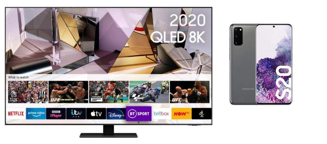 Samsung QE55Q700T 55 inch QLED 8K HDR 1000 Smart TV + Free Samsung S20 Smartphone - £1999 @ Richer Sounds
