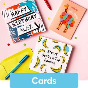 Free £1 Amazon with Any Purchase @ Card Factory Vouchercodes (should include 55p e-card, 45p surplus, or £1.79 cards delivered (ends up 79p)