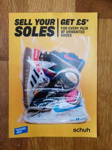 Sell your soles for a fiver off your next purchase at Schuh (instore only)