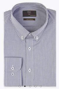 Slim Fit Stretch Check Shirt (Blue & Navy - 14.5-19 Neck), Free Click & Collect/Free Returns - £5 @ Marks & Spencer