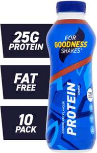 For Goodness Shakes High Protein Chocolate Shake, 475ml - Pack of 10 - £10 Prime / +£4.49 non Prime @ Amazon