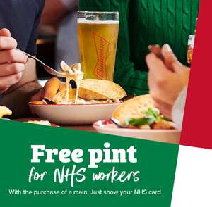 Frankie & Benny Free Pint for NHS workers with purchase of main meal combine with 20% nhs discount & 50% off Eat out to Help out ends Aug 31